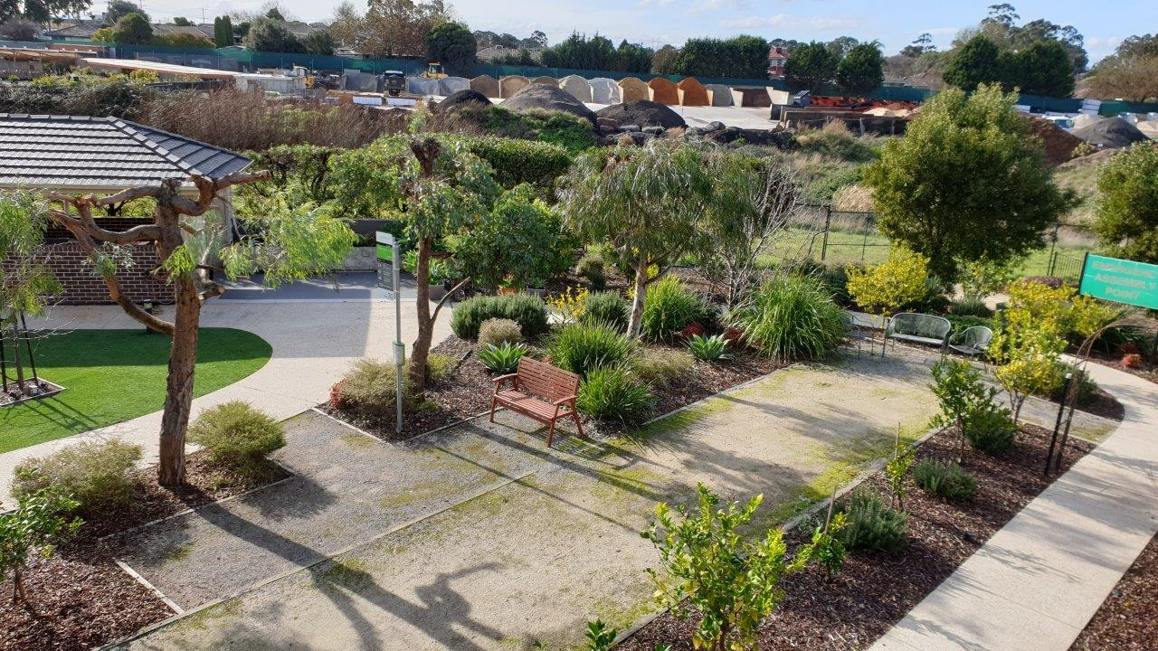 Bethel Aged Care, Mill Park VIC 3082 - Back Courtyard with BBQ Facilities, Bocce Pitch, Fruit trees and vegie planter boxes